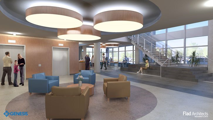 Main lobby elevators with view of cafeteria on the right.
