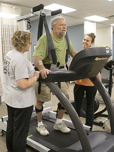 Mark receives care from Liz Arp and Pam Glasgow at Genesis Physical Therapy at ValleyFair in Davenport.