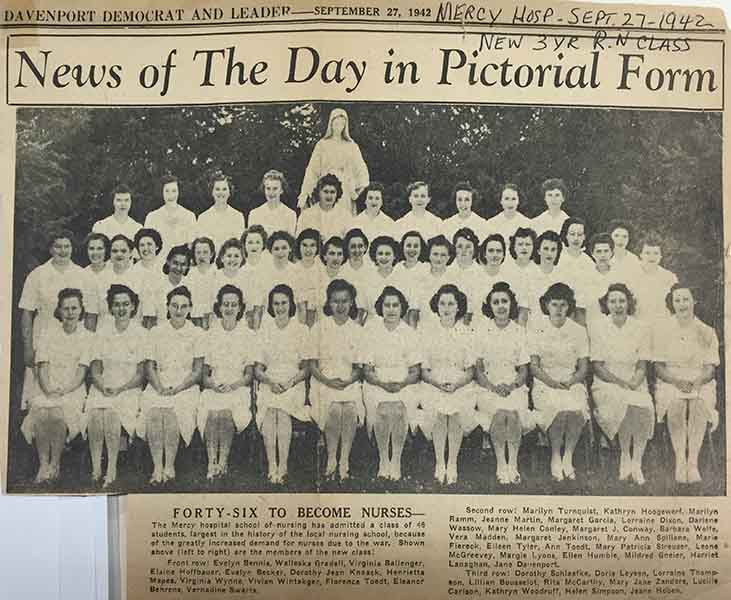 September 27, 1942 - Mercy graduates 46 nurses.