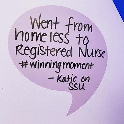 Katie posted her winning moment on the Winning Wall