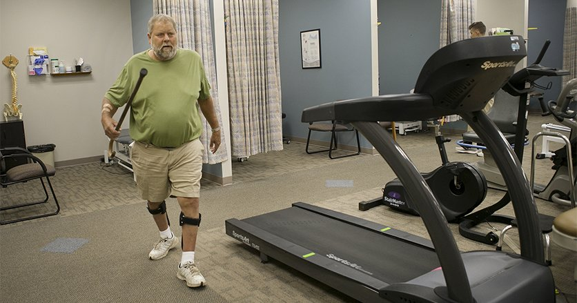 Mark Hartman receives Physcial Therapy at Genesis Physical Therapy, ValleyFair, on his jorney back to health.