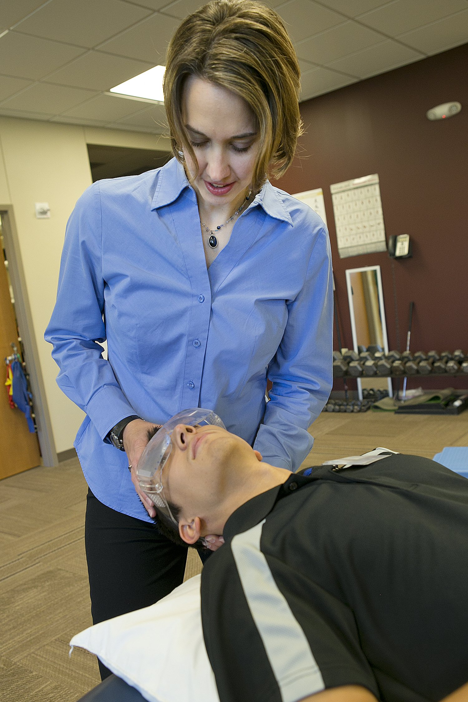 A patient receives physical therapy at Moline HealthPlex