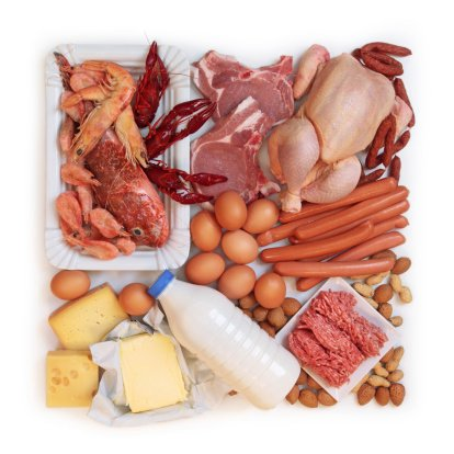A variety of foods high in protein